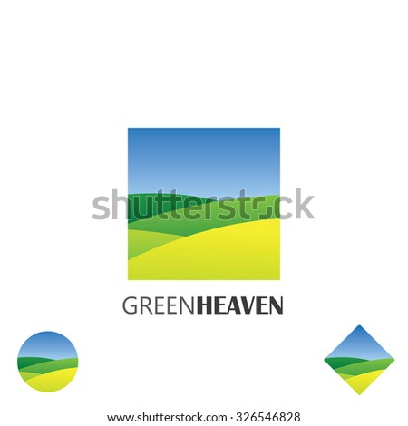 logo vector icon of green farm lands. this graphic also represents nature, green ventures, countryside, fields and gardens, organic farming - stock vector