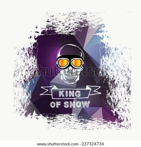 Logo vector snowboard, ski background and design poster. Quote banner with graphic icon.