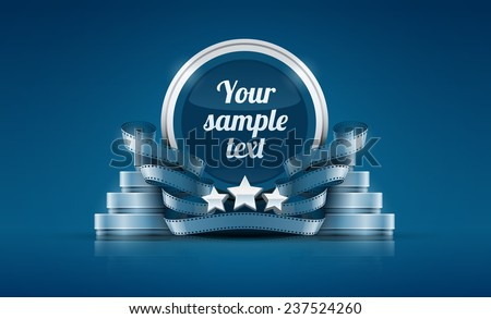 Logo with stars and cinema film tape. Eps10 vector illustration. - stock vector