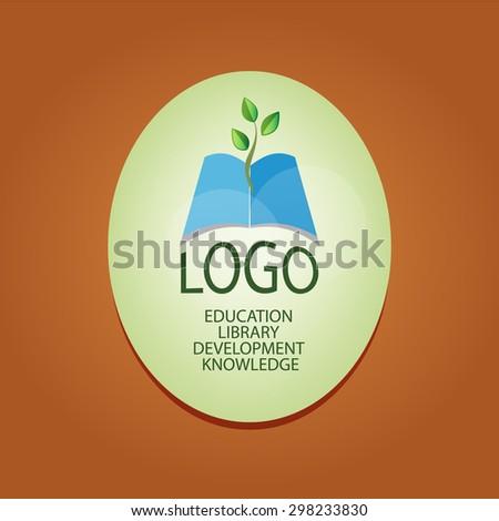 Logo Book Twig Symbol Growth Knowledge Stock Vector 298233830