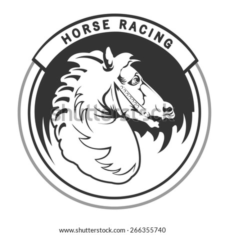Logo with vintage horses head for horse racing - stock vector