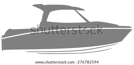 Logo yacht club in the form of a boat - stock vector