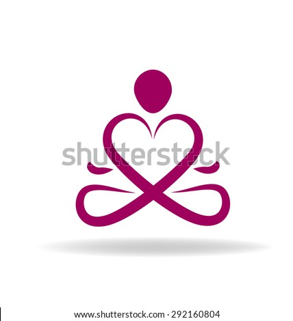Logo yoga love symbol vector icon - stock vector