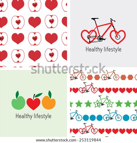 Logos, and seamless background of a healthy lifestyle. Bike and heart, fruits. Bicycle wheel heart-shaped logo. Apple fruit logo. Geometry and Bike seamless pattern.  - stock vector