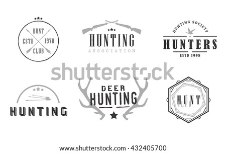 Logos for hunting business companies, hunting clubs, hunters associations and societies - stock vector