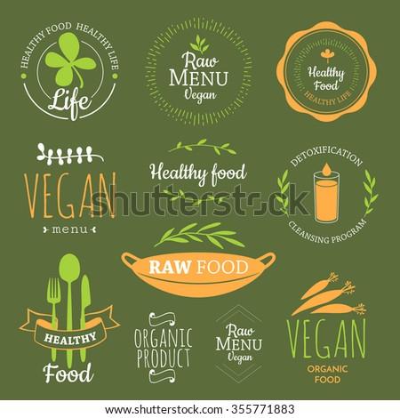 Logos Vegetarian Useful Meal Raw Food Stock Vector ...