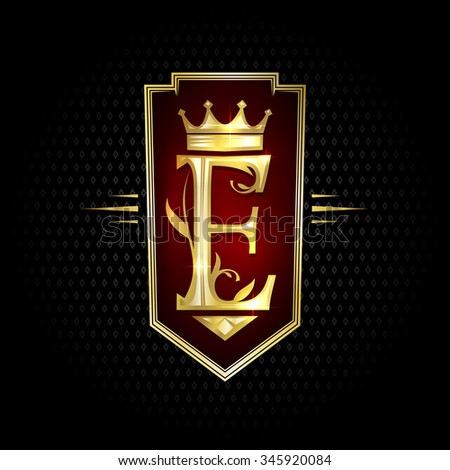 Logotype chick gold letter E with crown. - stock vector