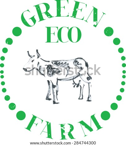 Logotype Eco cow farm - stock vector