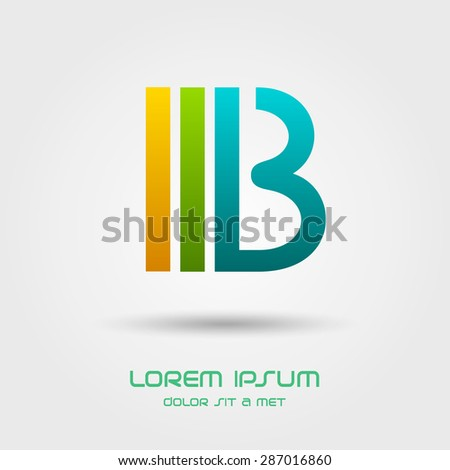 """Logotype in the form of the letter """"B"""", Abstract stylized business logo idea, Vector illustration Eps 10 - stock vector"""