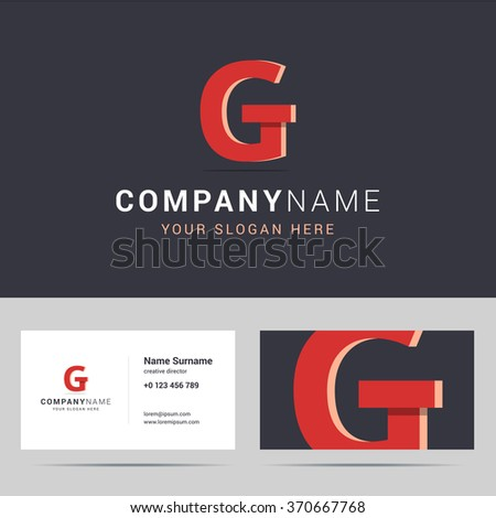 Logotype, logo template and business card template. Logotype with G letter sign. Two sided business card layout. G letter with overlapping and 3d effects. Vector illustration. - stock vector