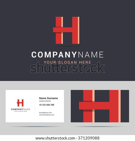 Logotype, logo template and business card template. Logotype with H letter sign. Two sided business card layout. H letter with overlapping and 3d effects. Vector illustration. - stock vector