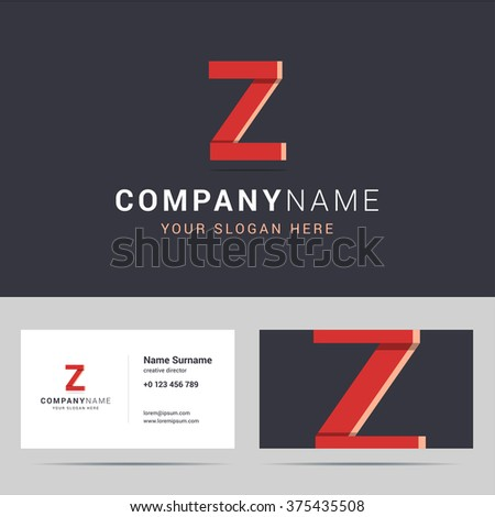 Logotype, logo template and business card template. Logotype with Z letter sign. Two sided business card layout. Z letter with overlapping and 3d effects. Vector illustration. - stock vector