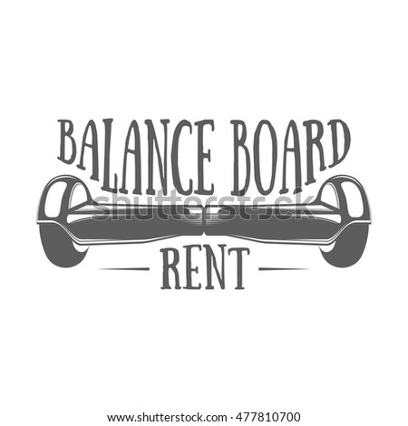 Logotype of balance board rental service. Badge or label with gyroscooter and hand drawn letters on white background. Monochrome vector illustration in modern style.