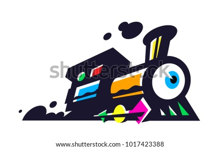 Logotype of the train, locomotive. Vector flat icon. Minimalistic image on a white isolated background. Surrealistic sign, emblem for logo. A bright cartoon train with eyes.