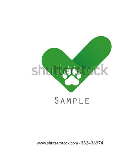 Logotype template with dog paw and a check. Logotype for veterinary clinic or animals registration company. Vector illustration in eps10. - stock vector