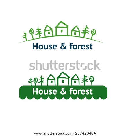 Logotypes with image of trees and house