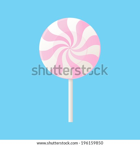 Lollipop. Blue background.