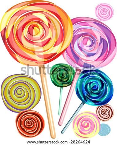 lollipop, candies / spiral - stock vector