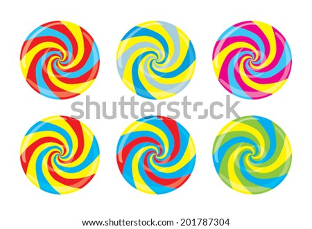 Lollipop face. Striped peppermint candy without black line,  isolated on white background, vector - stock vector