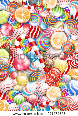 Lollipops. candies and sweets, bright colorful vector  background - stock vector