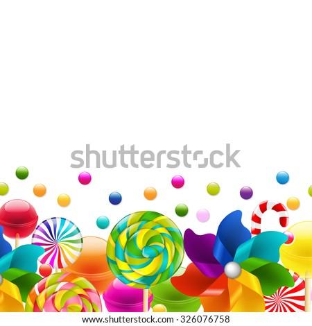 Lollypop Big Set With Pinwheel Border With Gradient Mesh, Vector Illustration - stock vector