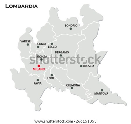 Lombardy Map Stock Vector 266151353 Shutterstock
