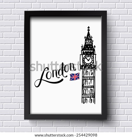 London and Big Ben clock tower with the Union jack vector illustration in a simple black frame hanging on a textured face brick wall, with copyspace. Vector illustration. - stock vector