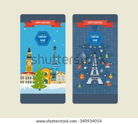 London and France flat icons design travel concept. Travel to Europe for christmas. Invitation card. Travel to Europe for winter. Vertical banners design templates set - stock vector