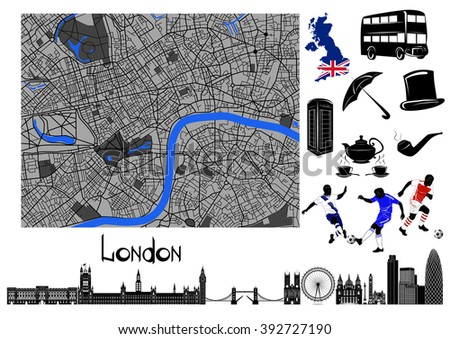 London. Black-and-white map and hallmarks, symbols of London and England