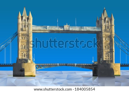London Bridge illustration in triangular pattern style - stock vector