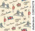 London Bridge & London icons seamless pattern - stock vector