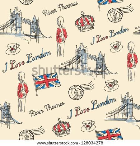 London Bridge & London icons seamless pattern - stock vector