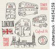 London bus doodle vector - stock vector