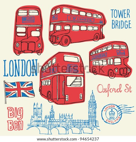 London bus doodle vector