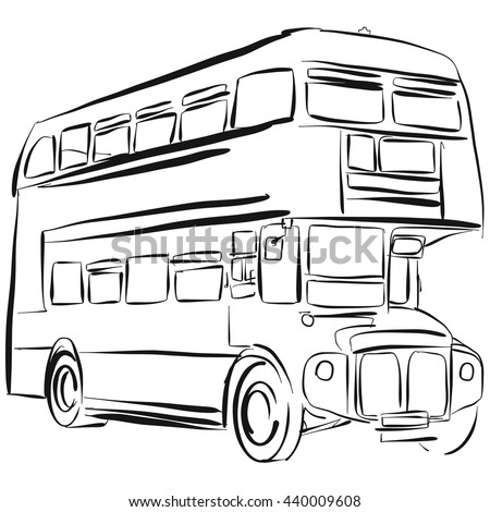 London Bus Vector Drawing Outline Version