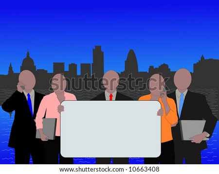 London business team with blank sign and skyline - stock vector