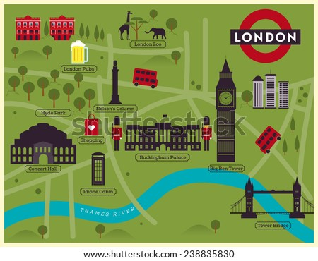 London City Map Illustration - stock vector