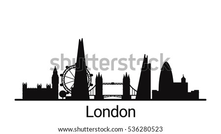 London City Outline Skyline All Stock Photo Vector Rh Shutterstock Com Art Silhouette