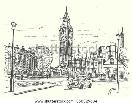 London city scene hand drawn style isolated,vector illustration  - stock vector