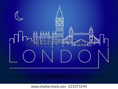 London City Skyline Modern Typographic Design - stock vector