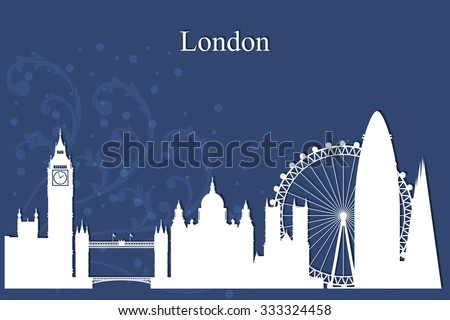 London city skyline silhouette on blue background, vector illustration - stock vector