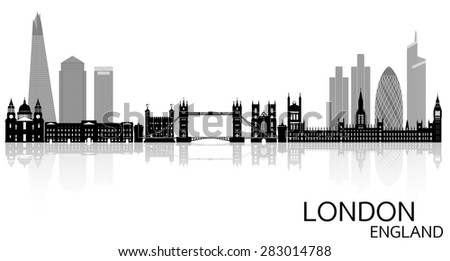 London city skyline vector illustration - England - stock vector