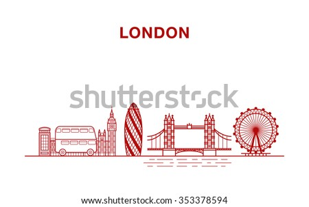 London city vector illustration with most famous landmarks made in line art style  - stock vector