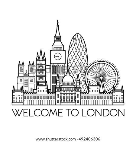 London Detailed Skyline Travel And Tourism Background Vector Line Illustration