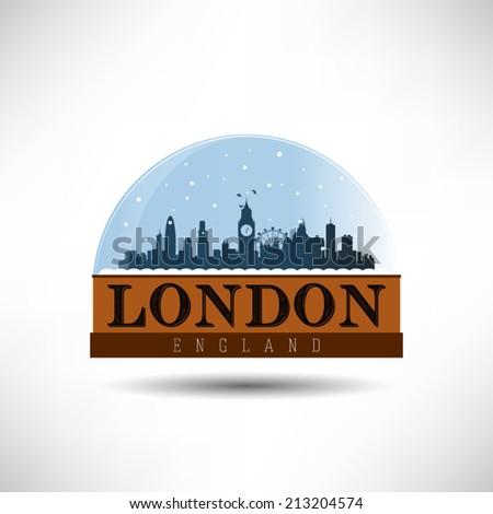 London, England city skyline silhouette in snow globe vector illustration. Winter design. - stock vector