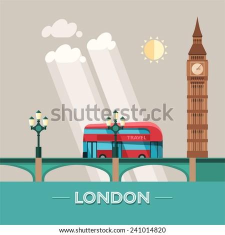 London (England) city vector background. Flat illustration. - stock vector