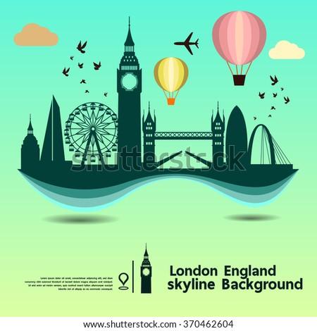 London, England, skyline background and  travel destination, vector Illustration - stock vector