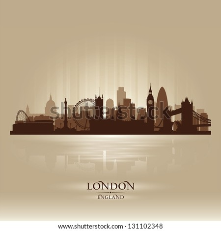 London England skyline city silhouette - stock vector