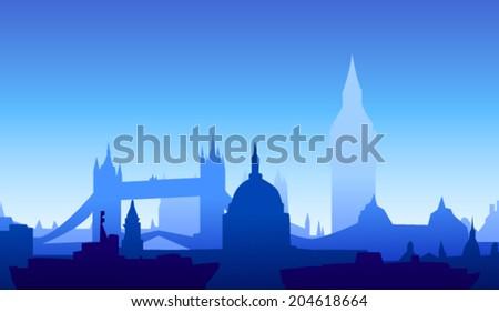 London, England skyline. Detailed silhouette. Vector illustration  - stock vector