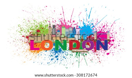London England Skyline Panorama with Tower Bridge and Westminster Palace Abstract Paint Splatter with Color Text Vector Illustration - stock vector